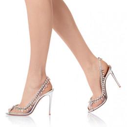 Crystal Fashion Wedding Shoes Salto Alto Abrir Peep Toe Calçados Slingbacks alta qualidade Sexy nupcial entrega rápida de