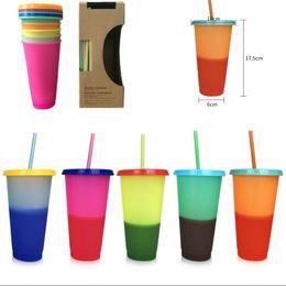 regalos en forma de camara Rebajas Vasos para beber 24 oz Temperatura Copa del color mágico magia taza reutilizable de plástico con tapa y paja