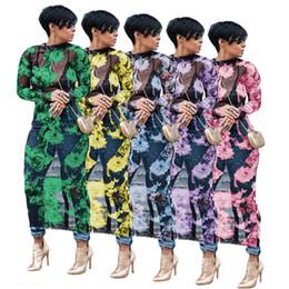 3XL Grande Taille Sexy Perspective Maille Dress Femmes O Cou Pleine Manche Maxi Dress Automne Été Floral Imprimé Cheville Longueur Crayon Robe ? partir de fabricateur