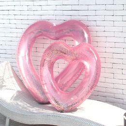 2019 anillos en forma de corazón de oro rosa Forma de corazón del amor Piscina inflable Oro rosa Brillo Nadar Anillo Natación Vida Boya anillos en forma de corazón de oro rosa baratos