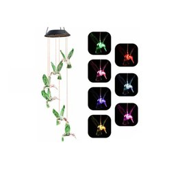 Outdoor-garten windspiele online-Sonnenwind Glocke Lampe Wind Chime Licht Solarlampe Hummingbird wasserdichten Outdoor-LED-Solarlicht für Haus-Party-Garten-Yard-Patio