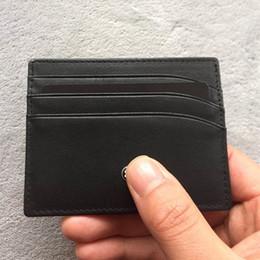 Mini bolso titular do cartão de crédito on-line-Titulares De Cartão Preto Clássico Fotos Reais O Meisterstück Bolso 6cc Mini Carteira Para Os Homens De Couro Real ID Caso De Cartão De Crédito Com Caixa