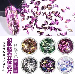 Escamas de uñas online-Danceyi 6 Conjuntos de colores AB Color Nail Lentejuelas Glitters Triángulo Diamante Rombo Copos Paillette Manicura Nail Art Decoraciones ae039