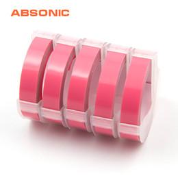 2019 formatador hp Absonic 5PCS 9 milímetros Branco 3D no rosa de plástico Embossing Tape Refill Compatível Dymo M1011 1610 1595 Motex E-101 E-303 Label Maker