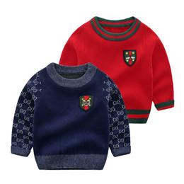 Cuello bordado nuevo diseño online-Nueva ropa para niños suéter niños tocando fondo camisa suéter de moda cuello redondo diseño bordado patrón primavera y otoño nuevo 2 colo