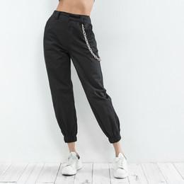 2019 chaînes de pantalon Chaîne Streetwear Treillis Femmes Femme Jogger Pantalon taille haute loose pantalons femme femmes coréens dames Pantalon Capri promotion chaînes de pantalon
