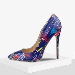 stiletto schuhe zum verkauf Rabatt Heißer Verkauf High Heel Designer Hochzeitsschuhe Für Braut Druck Stilettos Luxus Frauen Designer Heels Spitz 11 CM PU Brautschuhe