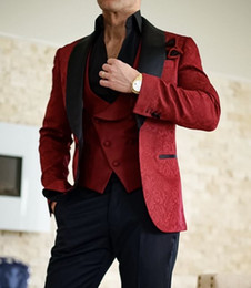 2019 jaqueta de smoking vintage 46 Blazer dos homens do casamento Terno Lace noivo Vintage Smoking Groomsmen Black Red White xaile lapela melhor homem ternos feitos sob encomenda feita (Jacket + Calças + Vest) desconto jaqueta de smoking vintage 46