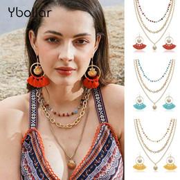 2019 steinketten Mode Frauen Ohrringe + Halskette Set Baumwollfaden Quaste Shell Tropfen Baumeln Ohrringe Multi Schichten Naturstein Kette Halskette