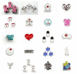 fascini infermieristici Sconti Hot Sale Medical Series Charms I Love Nursing Floating Living Charms Accessori per gioielli Fit Memoria galleggiante Locket Charms fai da te come regalo