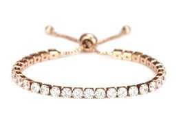 crystal single row bracelet Coupons - Euro-American hip hop fashion boom simple personality copper Zircon Bracelet Adjustable crystal bracelet women's single row full drill jewel