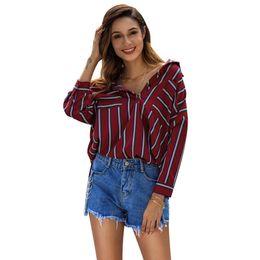 MAIAKO Yeni kadın Gömlek Moda Punk Stil Çizgili Kırmızı kadın Üstleri Sokak Gevşek Şık bluzlar kimono hırka kadın 2019 nereden