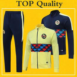 Wholesale Club America Футбол Куртка Спортивный костюм Желтый Темно синий Тренировочный Костюм Высочайшее Качество PRE MATCH Комплект Зимних Футбольных Курток Брюки