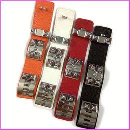2019 vintage 14k armband Vintage Pu Leder H Armbänder für frauen Stulpearmbänder Männer silber schnalle Armband Pulseras Hombre Männlichen Accessoires Schmuck günstig vintage 14k armband