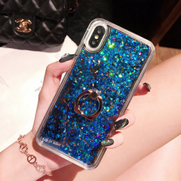 Casi di glitter iphone6 online-Fashion Soft Dynamic Liquid Glitter Quicksand Custodia in gel TPU per iPhone6 ​​6 6Plus 7 7Plus Custodia per anello
