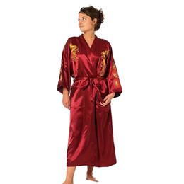 2019 rendas vestidos de dama de honra de duas cores Borgonha De Cetim Bordado Dragão Kimono Roupão De Banho das Mulheres Sexy Robe de Cetim Longo Camisola Sleepwear Tamanho S M L XL XXL XXXL Y19042803