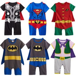 costume de super héros Promotion Bébé Garçons Robin Barboteuse Costume Infant Superhero Costume Pour Garçon Parti Majin Buu Combinaison À Manches Courtes Avec Cape Taille 0-24m J190524