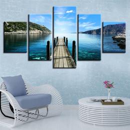 peinture à l'huile abstraite forêt hd Promotion 5 panneaux sans cadre peinture à l'huile mur art toile peinture empreintes moderne pont en bois photo du lac pour le salon décoration