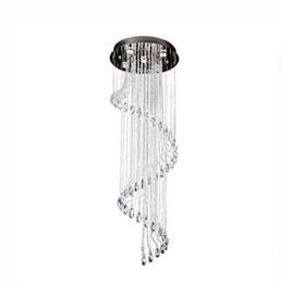 decoraciones de cocina italiana Rebajas Lámparas K9 Cristal de acero inoxidable Espiral Luz de Techo Moderna Creativa LED Sala de estar Hotel Villa Luz Lámpara colgante de luz Lámpara