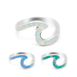 Moda Ocean Wave Minimalista Anello Oro rosa Anelli d'argento per le donne Ragazze semplici anelli di metallo Knuckle Surf da
