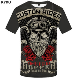Vintage punk rock t shirts on-line-Marca Da Motocicleta T Shirt Do Punk T-shirt Cavaleiro Camisas 3d T Camisa Dos Homens Casual Rock Vintage Hip Hop Verão Tee Top Homme Roupas