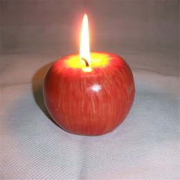 Forniture di decorazione di frutta online-Spedizione gratuita 5 pezzi di natale rosso per apple forma frutta profumata candela decorazione della casa regalo di saluto forniture per feste