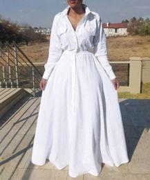 vestido de la manga del alboroto de la cintura del imperio Rebajas Tamaño más 2019 Moda de manga larga maxi vestidos de las mujeres otoño maxi larga de algodón vestido de gran tamaño grande Mujeres Vestidos vestido de las señoras FS5107