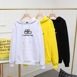 Homens amarelos hoodie on-line-New Men 2020 encapuzados mulheres Moletons Moda HCBalenciaga Jogger Treino manga longa Carta imprimir tamanho Hoodie branco preto amarelo 2XL