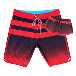 Swimwear gradiente online-Coppie Beach Shorts 10 colori di moda a strisce gradiente impermeabile Boardshorts Uomini Breve elastico Donne Dry Surf Shorts Swimwear Designer 05