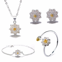 Lotus Bracelet Ear Stud Adjustable Ring Necklace Pendant For Women Chinese Style Daisy Flower Jewelry Gift For Women Silver от