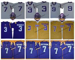 camisas de rugby da faculdade Desconto 2018 LSU Tigers 125 9 Burrow Joe 3 Odell Beckham Jr. 7 camisas de futebol de Patrick Peterson Tyrann Mathieu de Leonard Fournette Leonard