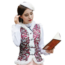 Gilets de rayonne en Ligne-gilet gilet femme hiver vintage Vintage régulier pois Polka Dot col Breasted Red FZ03