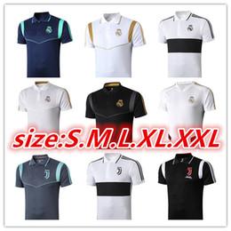 Camisa de polo negro online-2019 Real Madrid Polo de fútbol blanco Jersey 19 20 Real Madrid PELIGRO Negro Camisa de polo Uniformes RAMOS MODRIC ASENSIO ISCO de Fútbol POLO