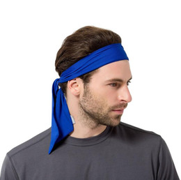 2019 i capelli della testa posteriore Solid Tie Back Fasce Stretch Sweatbands Fascia per capelli Umidità Wicking Uomini Donne head Bands sciarpe per sport Running Jogging i capelli della testa posteriore economici