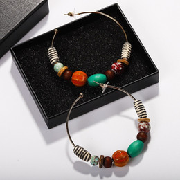 серьги многоцветные Скидка New For Women Ethnic Vintage Gold Color Multicolor Hoop Earrings Bead Boho Earrings Ear Drop Jewelry