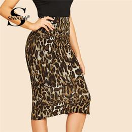 faldas de longitud media de las mujeres Rebajas Sheinside Slit Hem Leopardo Bodycon Falda Mujeres Longitud de la rodilla Estiramiento Mediados de cintura Lápiz Faldas para mujer 2018 Otoño Midi Falda vintage