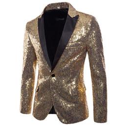 roupas masculinas estilo rock Desconto Lantejoulas blazer ternos dos homens projetos jaqueta mens trajes de palco para cantores roupas dance star estilo vestido de punk rock de prata de ouro