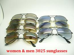 Vetri unisex aviatore online-occhiali da sole firmati di marca cerniera in metallo di alta qualità occhiali da sole aviator sfumatura unisex occhiali da sole lenti UV400 unisex con astuccio e scatola 3025