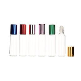 Balsamo di profumo online-10ml Vetro trasparente bottiglie di olio essenziale a rulli con le sfere di vetro Roller Aromaterapia Profumi Balsami labbra Roll On Bottiglie JXW260