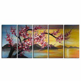 Canvas di fiori online-Pittura a olio dipinta a mano su tela astratta Plum Blossom Picture Framed Pittura Wall Art Living Room Bedroom Wall Decor