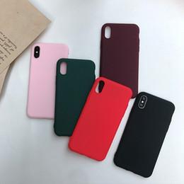 iphone rojo negro funda silicona Rebajas Funda de silicona suave mate para iPhone X XS MAX XR 8 7 6 6S MÁS IPhoneX 7plus 8plus Funda de teléfono Linda Rosa Negro Rojo Estuche