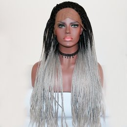 perruques de mode gris Promotion Mode Naturel Hairline Dark Roots Ombre Gris Tressé Longue Synthétique Perruque En Dentelle Avant Pour Les Femmes Afro-Américain Cheveux Artificiels Tresses Perruque