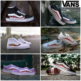 canvas shoes customs Coupons - 2019 Casual shoes vans zapatillas de deporte Old Skool sharktooth Custom Sneakers Women Mens Camo Black White High Tops Canvas Sport Trainer