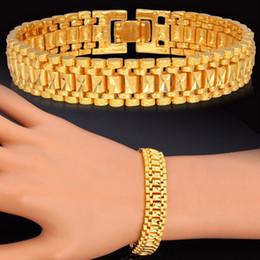 2019 chunky gold armband frauen Männliche Armband Frauen Schmuck 12 MM Pulseira Masculine Trendy Gold Farbe Chunky Chain Link Armband Großhandel Bileklik Armband Für Mann günstig chunky gold armband frauen