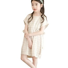 Vestidos de lino manera muchachas bebé online-2019 Summer Fashion Baby Girl Clothes Kids Cotton Linen Plaid Vestido Big Girls Bowknot Vestido Boutique Adolescentes Traje 6 8 10 12 14 J190619