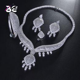 кольцо невесты из бисера Скидка Be 8  Cubic Zirconia African Necklace Earring Set Bangle Ring Nigerian Bride Jewelry Sets for Women Wedding Jewelry S195