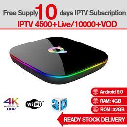 Ott quad core tv en Ligne-Q-Plus Allwinner H6 6K Smart TV Box Android 9.0 OTT TV BOX 4 Go de RAM 32 Go de support Quad Core Abonnement IPTV gratuit 4500+ Global Live TV