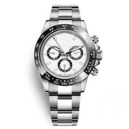 Керамические ремешки для часов онлайн-Самые продаваемые роскошные часы 40MM с белым циферблатом с автоматическим механизмом Сапфировое зеркало серии 116500 Керамическое кольцо с ремешком из нержавеющей стали 316L