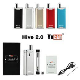 Kits de mod de boîte de vaporisateur en Ligne-Authentique Yocan Hive 2.0 Kit de démarrage Box Mod Vapes Cigarettes E Vape 650mAh Vape Pen Batterie Dab Pen Cire Vaporisateur Cartouches vides