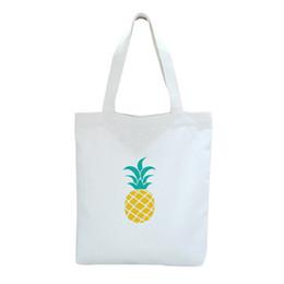 Kundenspezifische baumwolltaschen online-Ananas-nette kundenspezifische Segeltuch-Einkaufstaschen 2019 neue Cartton-Frauen-Baumwolleinkaufs-Schulter-Beutel-Schulstrand-Sommer-Handtasche